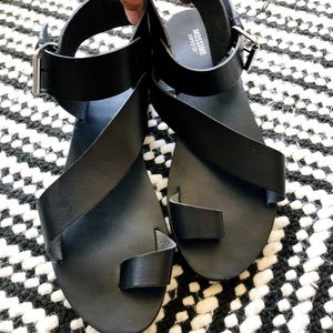 Mossimo supply black leather sandals. 8.5